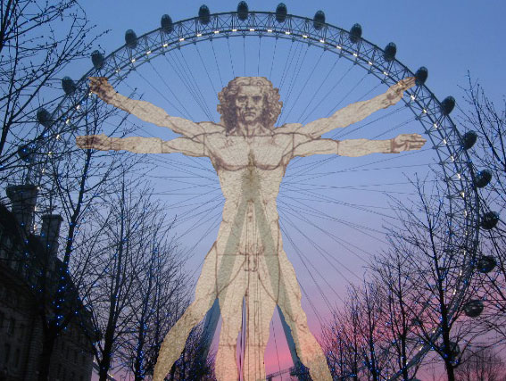 Spokes on a ferris wheel are an example of tensegrity